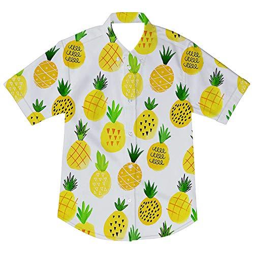 - 2019 Summer Little Baby Boys Kids Button Down Short Sleeve Hawaiian Shirt Yellow Pineapple Beach Tee Top Cloths 7-8T