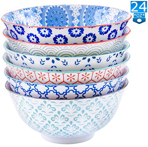 (Gulee 24 Ounce Premium Porcelain Bowls Set - Great for Cereal, Soup, Salad, Rice or Pasta - 6 Vibrant Designs - Large Capacity - Heat and Cold Resistant Ceramic - Dishwasher and Microwave Safe)