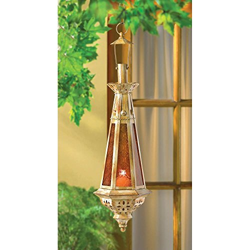 (Candleholders Lanterns Hanging Moroccan Amber Teardrop Candle Lantern Use Indoor or Outdoor)