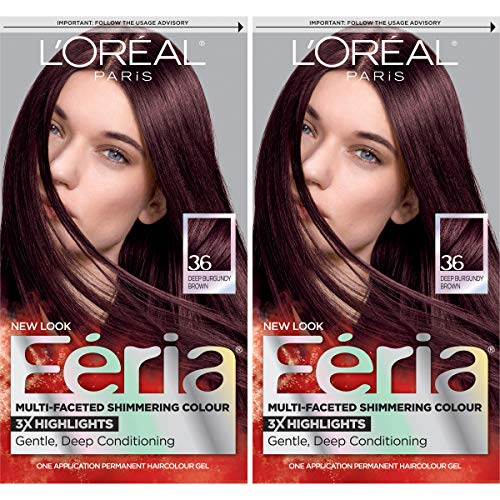 L'Oreal Paris Feria Multi-Faceted Shimmering Permanent Hair Color, Chocolate Cherry, 2 Count Hair Dye
