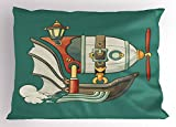 Lunarable Zeppelin Pillow Sham, Abstract Cartoon Airship Steampunk Themed Balloon Lantern and Propeller, Decorative Standard Size Printed Pillowcase, 26 X 20 inches, Jade Green Multicolor