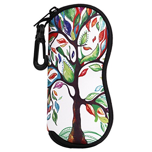 (MoKo Eyeglass Soft Case, Zippered Neoprene Sunglasses Pouch w/Clip - Lucky Tree)