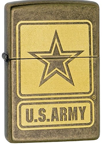 Antique Brass US ARMY Zippo Outdoor Indoor Windproof Lighter Free Custom Personalized Engraved Message Permanent Lifetime Engraving on Backside