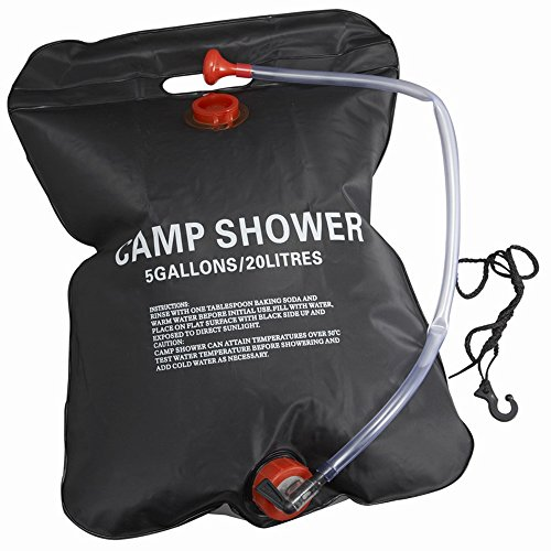 MeanHoo 20L/5gallon Camping Solar Shower Bag Portable Outdoor Camping Hiking Shower Showering Bag Heating Bag PVC Water Bag (5 Gallon Portable Air Compressor compare prices)