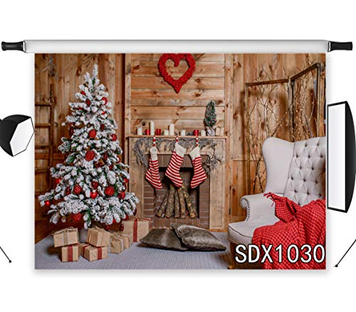 LB Christmas Backdrops for Photography 7x5ft Polyester Fabric Rustic Wood Wall Background Christmas Fireplace Photo Backdrops Customized Photo Studio Background Props,Seamless Washable]()