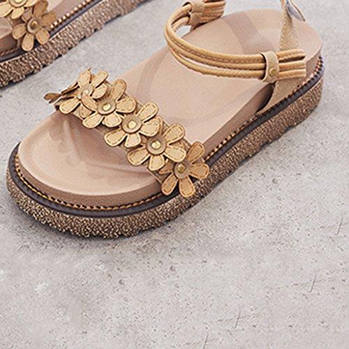 Salvajes Romanas 38 Verano Marrón Tamaño Zapatos Retro Los Nueva Sandalias Muffin Gruesa Planos Versión De Sandales Marrón color Estudiantes Coreana Suela Ex7qnCRw