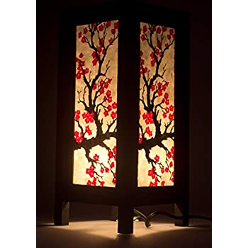 Good Japanese Sakura Flower Vintage Chiang Mai Thai Saa Paper Lantern Table Lamp  , Small Lamp Shades