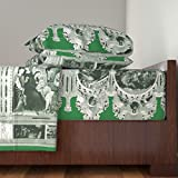 Roostery Jesus 3pc Sheet Set The Nativity Scene Border Print ~ Green & White by Peacoquettedesigns Twin Sheet Set made with