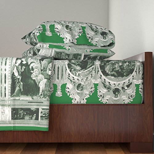 Roostery Jesus 3pc Sheet Set The Nativity Scene Border Print ~ Green & White by Peacoquettedesigns Twin Sheet Set made with by Roostery