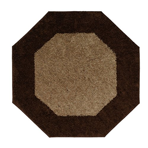 Single Piece Brown Octagon Rug, Solid Pattern, Olefin Material, Casual, Contains Latex, Machine-Made, Two-Tone Design, Indoor, Machine Wash Spot Clean Care Instructions