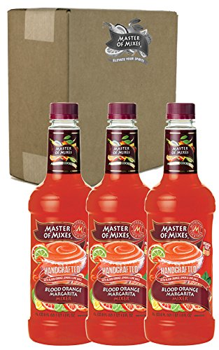 Master of Mixes Blood Orange Margarita Drink Mix, Ready To Use, 1 Liter Bottle (33.8 Fl Oz), Pack of 3