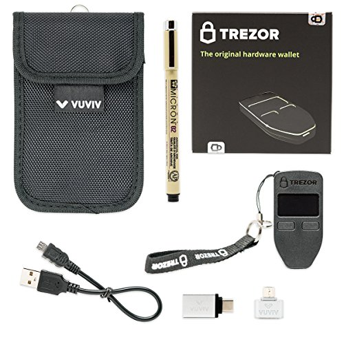VUVIV Trezor Black Bitcoin Wallet Bundle With RFID Pouch, 2 USB Adapters for Greater Connectivity & 1 Sakura Archival Ink Pen for Recovery Seed Sheet (5 items)