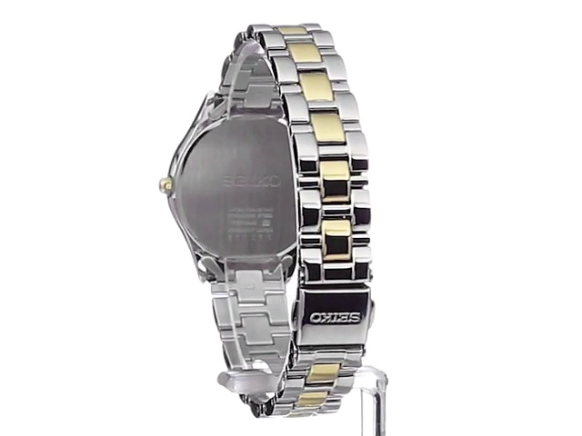 Seiko Women's SUT074 Dress Two-Tone Stainless Steel Swarovski Crystal-Accented Solar Watch 5
