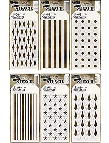 (Tim Holtz - Stencils Set 17 - SIX Item Bundle - Shifter Stars, Shifter Trees, Shifter Diamons, Shifter Dots, Shifter Stripes, and Shifter Mint)