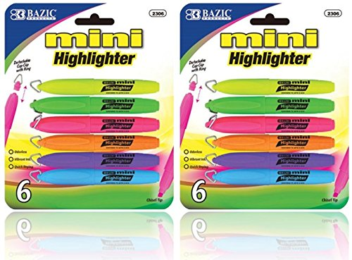 Bazic - Mini Highlighter with Cap Clip, 6 Different Colors (2-Pack of 6) ()