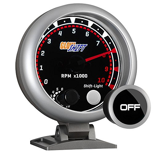 - GlowShift 10,000 RPM Tachometer Gauge - For 1-10 Cylinder Gas Powered Engines - Built-In Shift Light - Mounts on Dashboard - White LED Backlit - Smoked Lens - 3-3/4