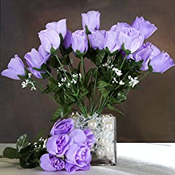 Efavormart 84 Artificial Buds Roses for DIY Wedding Bouquets Centerpieces Arrangements Party Home Decoration Supply - Lavender