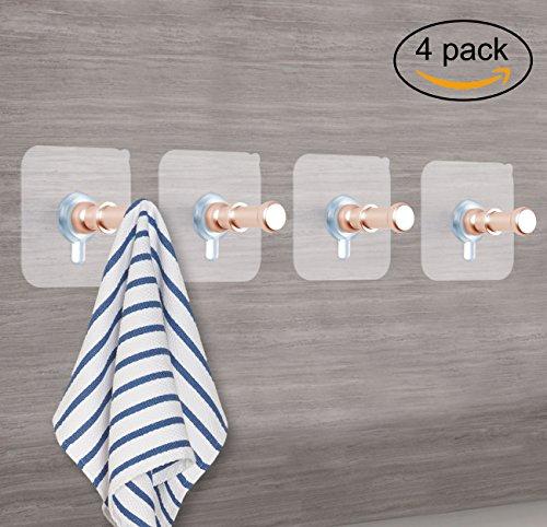 Gold Robe Hook (Sendida 3M Adhesive Hooks - 4 Pcs Aluminum Wall Hooks Nails Free No Drills Screw in Hooks for Hanging Hat Closet, Coat, Towel Hooks - Gold)