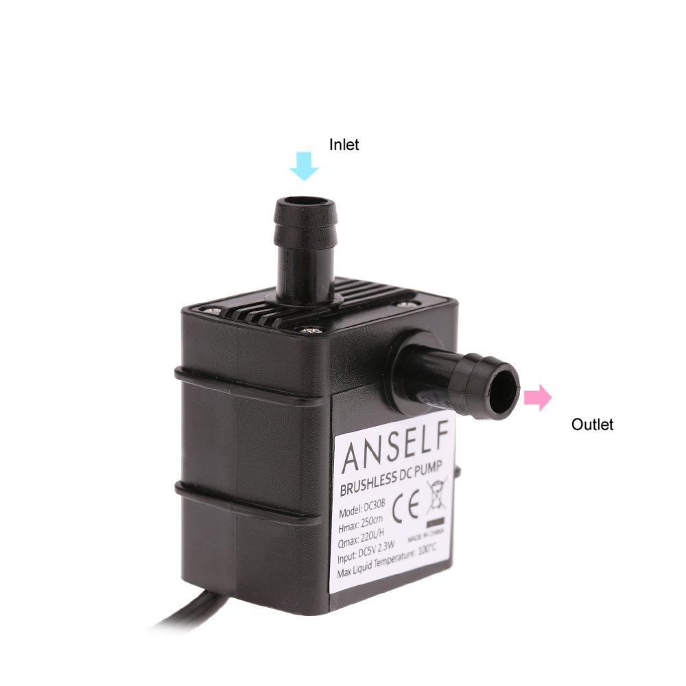 Soxid (TM) Anself 220L/H Lift 250cm Silencieux Mini Brushless Huile Pompe à eau USB Dc5V 2.3W étanche submersible Fontaine Aquarium circulation