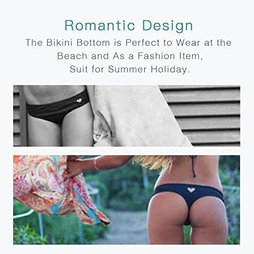 adesugata Bikini Bottom,Damen Sexy Bikini Bottom in Herzform Bademode Slip Brazilian Bikini Thong String Tanga Badeanzug Beachwear L schwarz