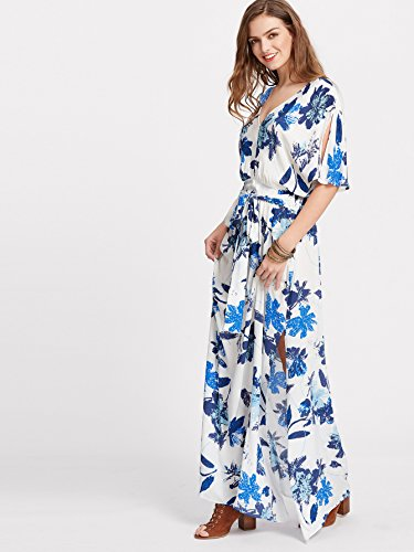 Milumia Women's Boho Split Tie-Waist Vintage Print Maxi Dress Large White-Blue