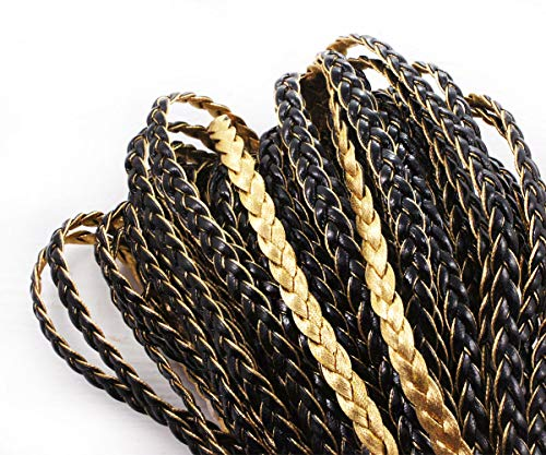 Gold Flat Braid - 2yrd 1.8m Jet Black Gold Faux Braid PU Leather Braided Flat Leather Cord DIY Jewelry Making Projects 7mm