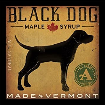 buyartforless IF WAP15016 12×12 1.5 Black Glass Framed Black Dog Maple Syrup by Ryan Fowler 12X12 Signs Dogs Black Labrador Animals Art Print Poster Vintage Advertising