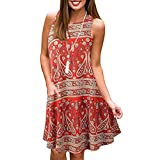 LIM&Shop Women Summer Casual Sleeveless Floral Printed Swing Dress Sundress with Pockets Tunic Top Simple T-Shirt Loose Red