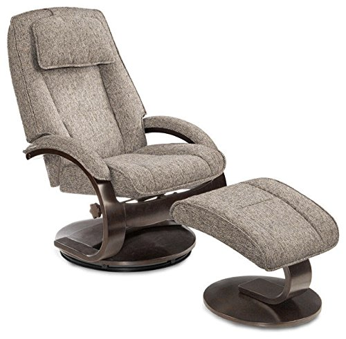 Mac Motion Bergen 2-Piece Recliner with Matching Ottoman - Teatro Charcoal
