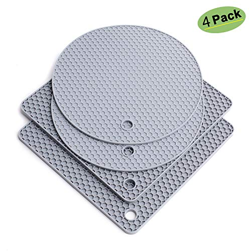 Silicone Trivet Mat Heat Resistant Pot Holders Hot Pads Multi-Purpose Table Placemats for Hot Dishes and Table - Kitchen Potholders for Jar Opener, Spoon Holder, Oven Mitts (4 Pack Gray) ()