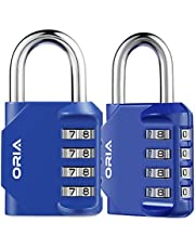 Oria Combination Padlocks (2 Pack), 4 Digit Lock Set, Resettable Security Locks, Anti Rust and Waterproof for School, Employee, Gym & Sports Locker, Toolbox, Filing Cabinets etc.- Red
