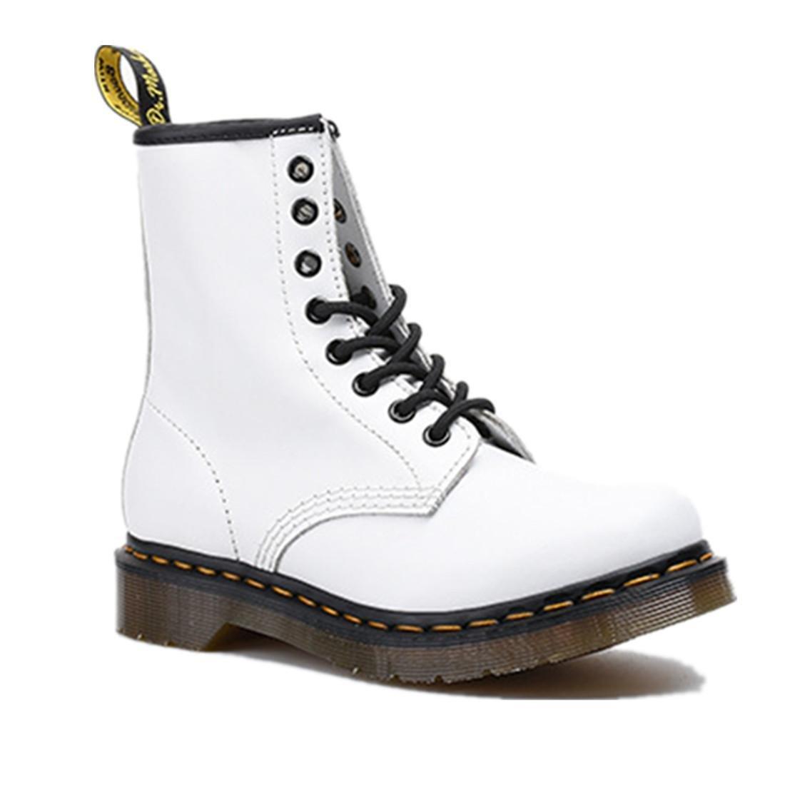 NVXIE Damen Männer Kurze Stiefel Paar Schuhe Flache Neue Mode Martin Lokomotivstiefel Schnüren Sich Oben Echtes Leder Anti-Verschleiß Anti-Rutsch Weißer Frühling Herbst Winter