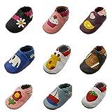Sayoyo Karikatur Lauflernschuhe Baby Leder weiche Sohle Kugelsicherer Krippe Enfants Schuhe(12-18 Monate, Schwarz)