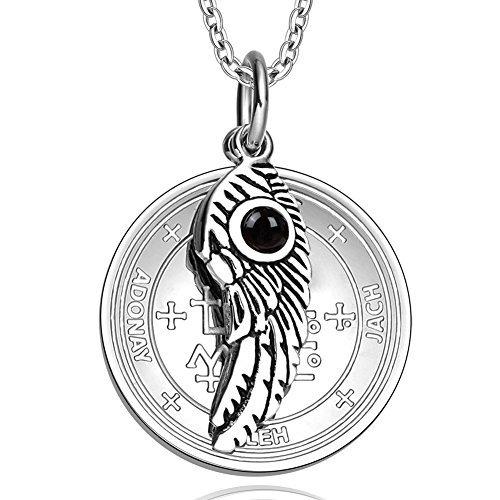 Archangel Samael Sigil Amulet Magic Powers Angel Wing Charm Simulated Black Onyx Pendant 18 Inch Necklace by BestAmulets