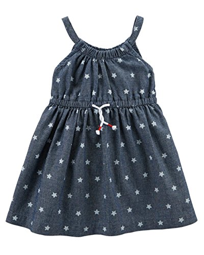 (Carter's Baby Girls' 0M-24M Summer Dresses with Diaper Covers (Blue Chambray/Stars, 3 Months))