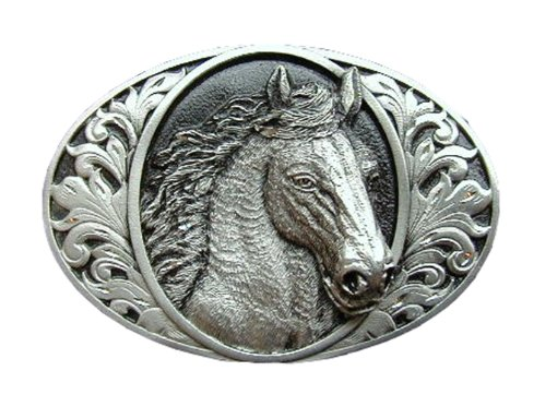 Diamond Cut Belt Buckles Horses - Horse Diamond Cut Novelty Belt Buckle