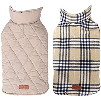 7f0dadfdcd84f WORDERFUL Dog Winter Coat Pet Reversible Winter Jacket Waterproof Grid  Plaid Warm Clothes for Small Medium Large Dogs (S, Beige)