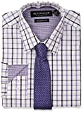 Nick Graham Men's Windowpane Dress Shirt with Tie Set, Purple, 17''-17.5'' Neck 34''-35'' Sleeve