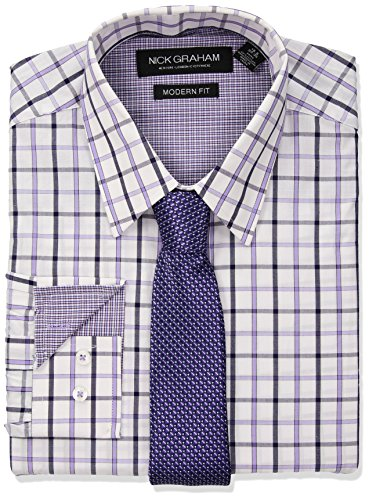 Nick Graham Men's Windowpane Dress Shirt with Tie Set, Purple, 17''-17.5'' Neck 34''-35'' Sleeve by Nick Graham
