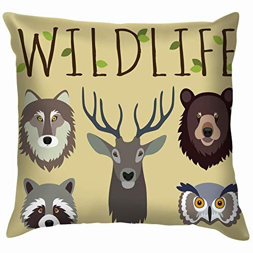Wildlife Set Masks Wild Animals Face Nature Soft Cotton Linen Cushion Cover Pillowcases Throw Pillow Decor Pillow Case Home Decor 22X22 Inch