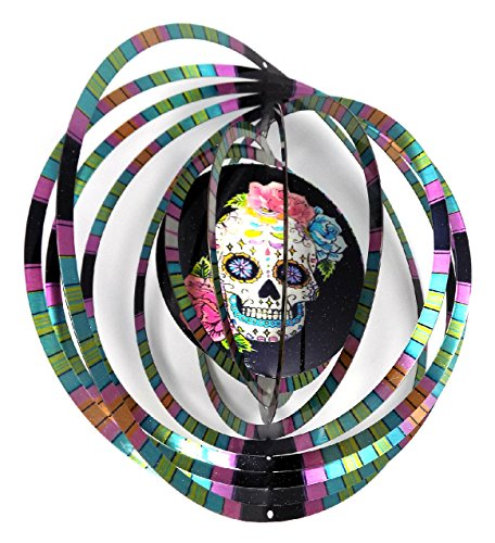 (WorldaWhirl Whirligig 3D Wind Spinner Hand Painted Stainless Steel Twister Skull Face Flowers (6.5 Inch, Multi Color))
