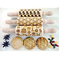 HALLOWEEN 3 KID Rolling pin SET Moon Owl Spider Ghost Pumpkin Witch Cross Skull crossbones Mini Rolling Pins for cookies play dough salt dough or clay Skulls Dragons Spiders
