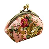 Toraway Wallet, Lady Vintage Flower Mini Coin Purse Wallet Clutch Bag (Pink)