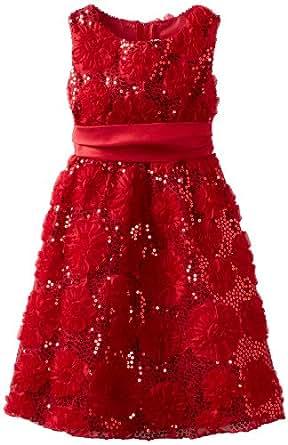 Rare Editions Big Girls' Sequin Flower Soutach Dress, Red, 10