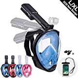 Dekugaa Full Face Snorkel Mask, Snorkeling Mask with Detachable Camera Mount, Panoramic 180° View Upgraded Dive Mask with Safety Breathing System Dry Top Set Anti-Fog Anti-Leak