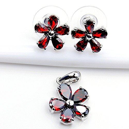 """La Plaza en argent sterling """"Fleur en filigrane en argent rouge CZ Stud Boucles d'oreilles et pendentif Set"""