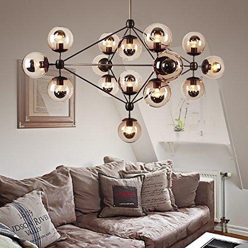 WYMBS Creative furniture decoration pendant lamp Magic bean DNA Molecular glass ball chandelier , 15 head of cognac color