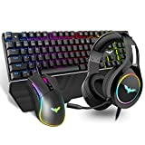 HAVIT Mechanical Keyboard Mouse Headset Kit, Blue Switch Keyboards,Gaming Mouse & RGB Headphones for Laptop Computer PC Games