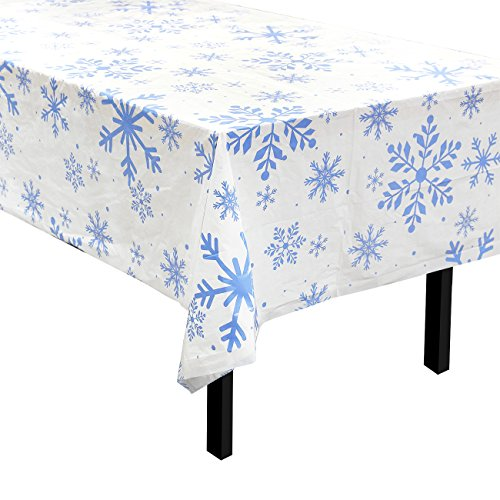 Juvale 6-Pack Snowflake Themed Plastic Table Covers - Ideal Tablecloth for Christmas - White & Blue, 54 x 108 Inches for $<!--$15.99-->