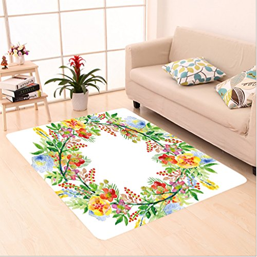 Nalahome Custom carpet s Decor Wreath with Branches Flowers and Leaves Save the Date Card Invitation Print Multicolored area rugs for Living Dining Room Bedroom Hallway Office Carpet (5' X 7')